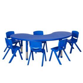 "ECR4Kids 65"" Kidney Resin Adjustable Activity Table with (6) Matching 14"" Chairs, Select Color"