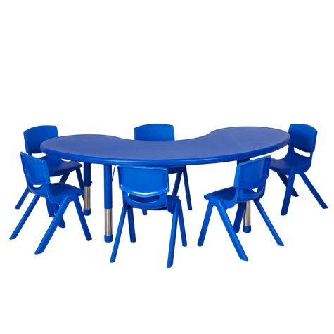 "ECR4Kids 65"" Kidney Resin Adjustable Activity Table with (4) Matching 10"" Chairs, Select Color"