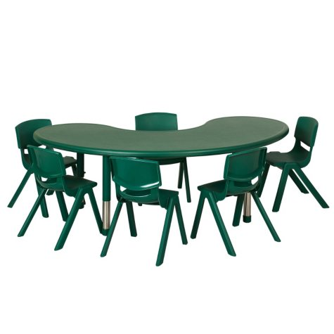 "ECR4Kids 65"" Kidney Resin Adjustable Activity Table with (4) Matching 12"" Chairs, Select Color"