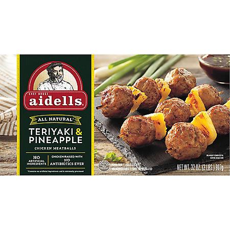 Aidells Teriyaki & Pineapple Chicken Meatballs, Fully Cooked (32 oz.)