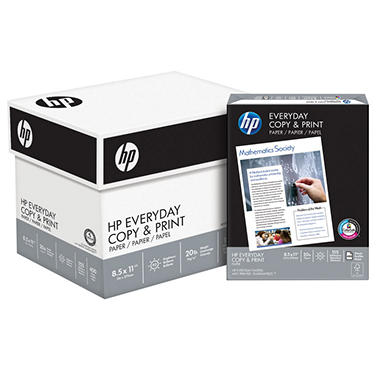 HP Everyday Copy & Print Paper, 20lb, 92 Bright, 8 1/2