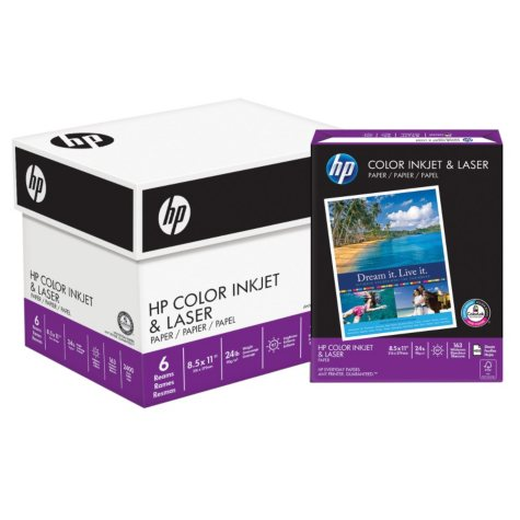 "HP Color Inkjet & Laser Paper, 24lb, 97 Bright, 8 1/2"" x 11"", 2,400 Sheets"