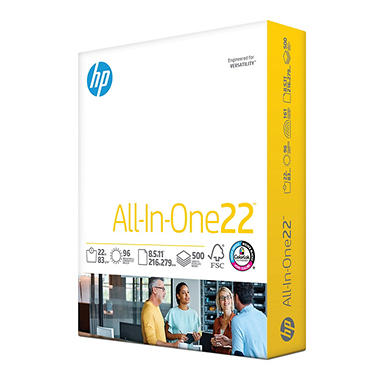 HP All-In-One Printing Paper, 22lb, 96 Bright, 8 1/2 x 11, White, 500 Sheets/Ream