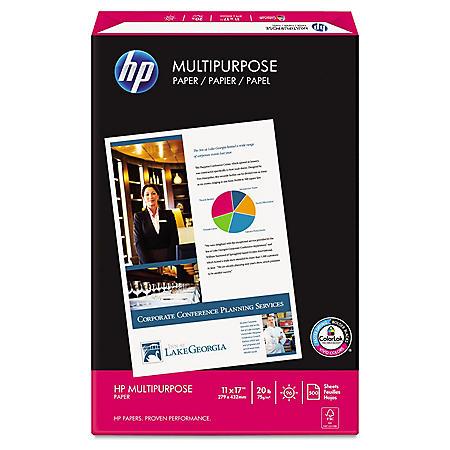 HP Multipurpose Paper, 20lb, 96 Bright, 11 x 17, White, 500 Sheets/Ream