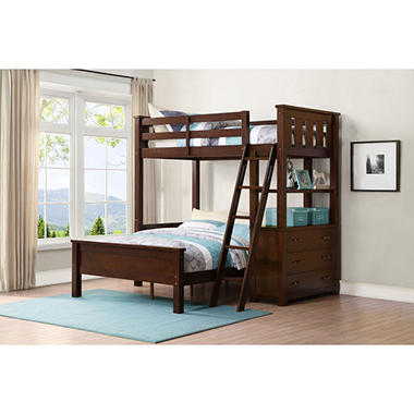 Nicholas Twin Over Full Bunk Bed With 3 Drawer Dresser