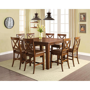 kayden counter-height table and chairs, 9-piece dining set - sam's