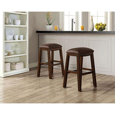 Asher Saddle Bar Stools Set Of 2 Sam S Club