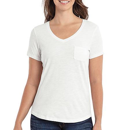 Eddie Bauer Ladies Cotton/Modal V-Neck Short-Sleeve Tee