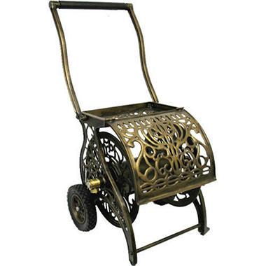 Decorative Cast Aluminum 2 Wheel Hose Reel Cart