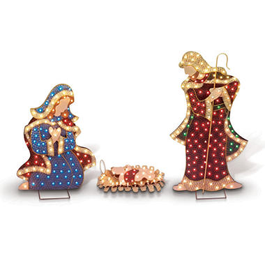 Painted Metal Outdoor Pre-Lit Nativity Set