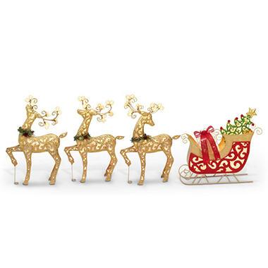 Three lighted metal deer with sleigh sams club three lighted metal deer with sleigh mozeypictures Images