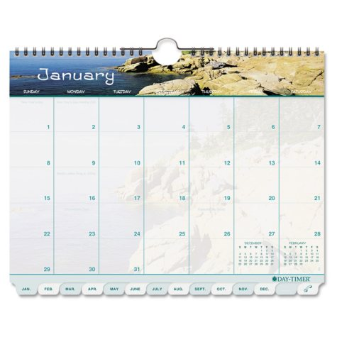 Day-Timer® Coastlines Tabbed 12-Month Wirebound Wall Calendar, 11 x 8 1/2, 2019