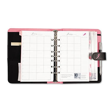 Day-Timer - Pink Ribbon Organizer Starter Set with Microfiber Binder - Black/Pink