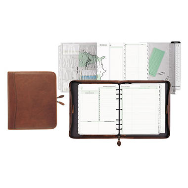 Day-Timer Aviator Distressed Leather Starter Set, 8 1/2 x 11, Dark Tan, Undated
