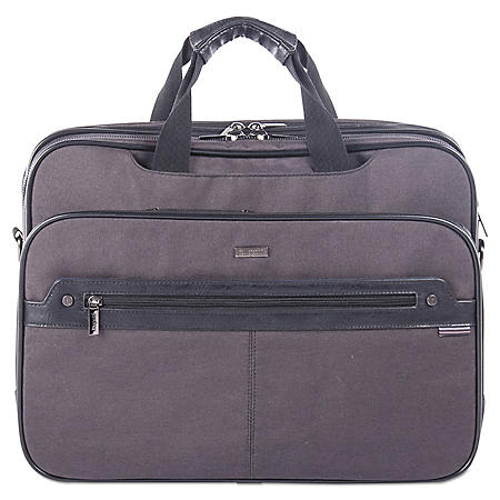 bugatti Harry Executive Briefcase, Nylon/Synthetic Leather, Gray