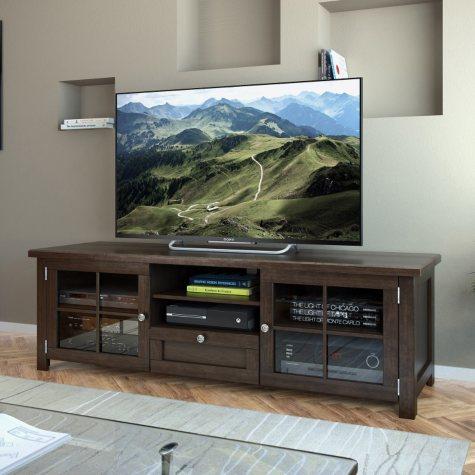 "Arbutus 63"" Dark Espresso Stained Wood Veneer TV Bench"