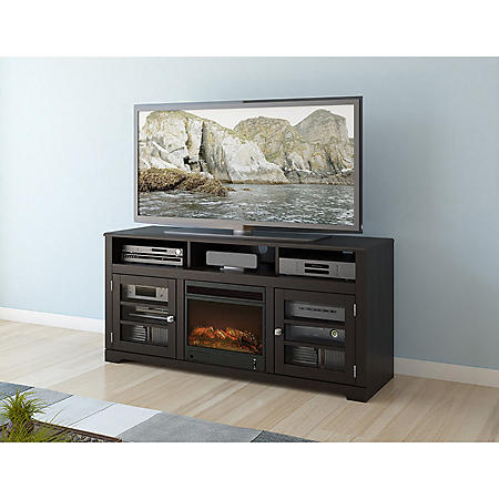 "West Lake 60"" Fireplace TV Bench - Mocha Black"