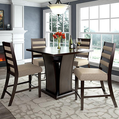 Bistro Counter Height Dining Table With 4 Woven Cream Chairs