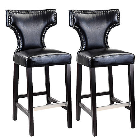 Kings Bar Height Barstool - Black with Metal Studs (2 pk)
