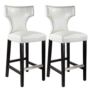 Kings Bar Height Barstool - White with Metal Studs (2 pk)