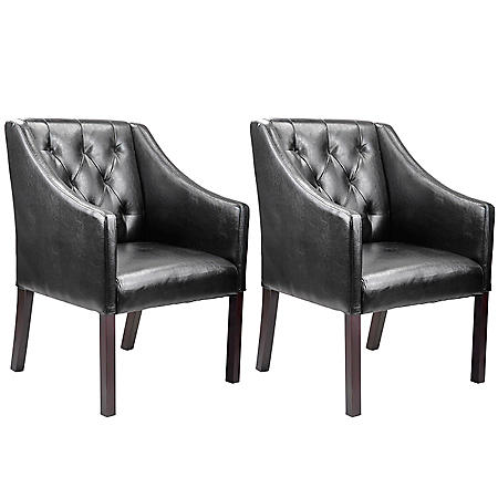 Antonio Accent Club Chair - Black Bonded Leather (2 pk)