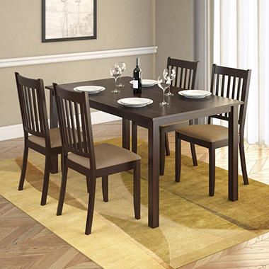 Atwood Dining Table with 4 Beige Microfiber Seats