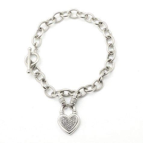 0.20 CT. T.W. Silver Diamond Heart Toggle Bracelet (I, I1)
