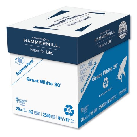 Hammermill - Great White Recycled Copy Paper, 92 Brightness, 20lb, 8-1/2 x 11 -  2500 Shts/Ctn