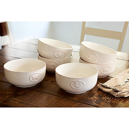 Farmhouse Stoneware Bowls with Antique Finish, 6 Pack (Assorted Colors)