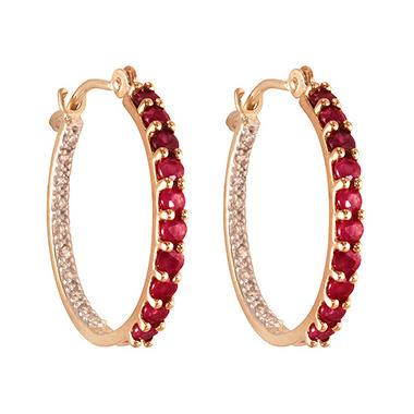 Round Ruby Diamond Hoop Earrings In 14k Yellow Gold