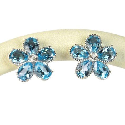 BLUE TOPAZ EARRING 4 CTTW FLOWER