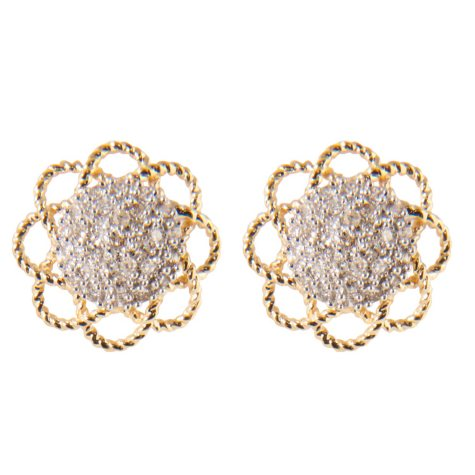 0.25 ct. t.w.Round Diamond Flower Button Earrings in 14k Yellow Gold (H-I, I1)