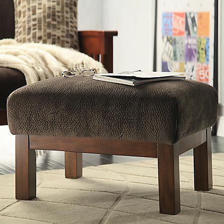 Calantha Espresso Fabric Ottoman