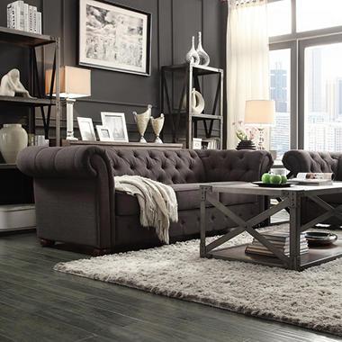 Kyle Tufted Linen Sofa   Choose Color