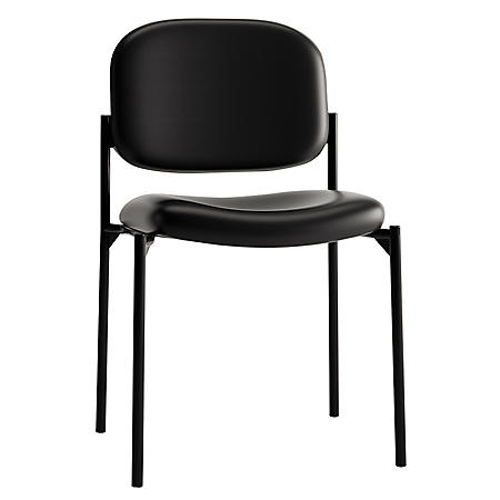basyx by HON - VL606 Stacking Armless Guest Chair - Black Leather