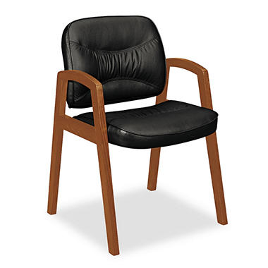 basyx by HON - VL800 Series Guest Chair with Wood Arms - Black Leather/Bourbon Cherry Finish