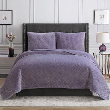 christian siriano luxury velvet king quilt set assorted colors