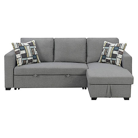 Langley Reversible Sectional Sofa with Storage, Fossil Gray