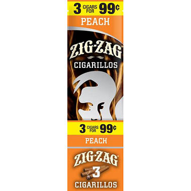 Zig Zag Peach Cigarillos Prepriced 3 for $0.99 (3 pk., 15 ct.)