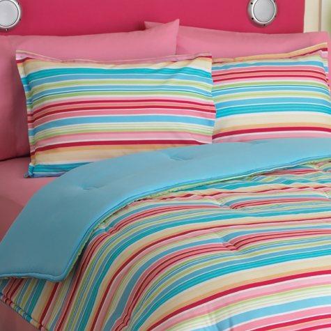 Idea Nuova Candy Stripe Comforter Set, Full/Queen