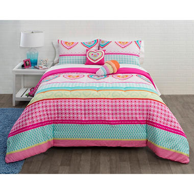 Hearts and Stripes 4-Piece Comforter Set, Twin