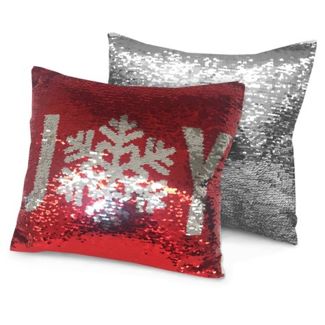 "Idea Nuova Holiday Joy Reversible Sequin Pillow, 16"" x 16"""