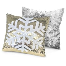 "Idea Nuova Holiday Snowfake Reversible Pillow, 16"" x 16"""