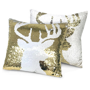 Idea Nuova Holiday Reindeer Reversible Sequin Pillow, 16