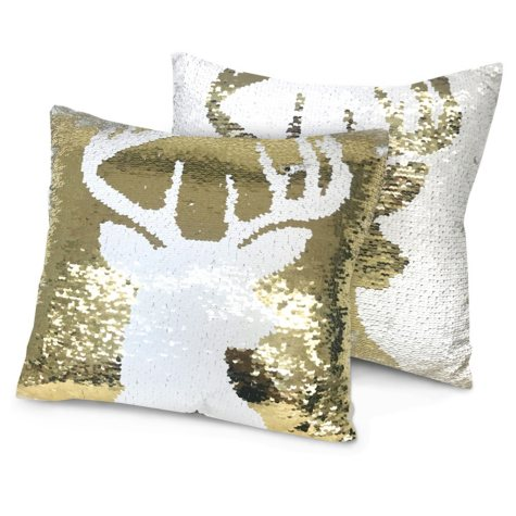 "Idea Nuova Holiday Reindeer Reversible Sequin Pillow, 16"" x 16"""