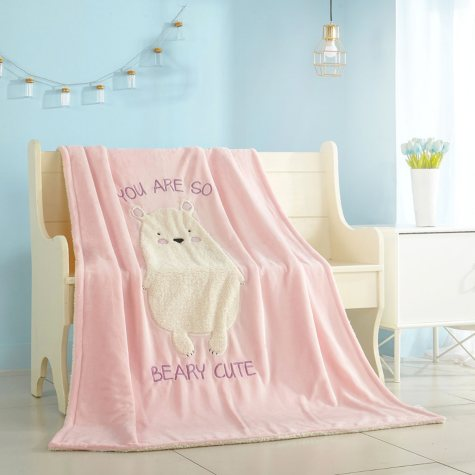 American Kids Figural Bear Sherpa Blanket Throw, 50'' x 60''