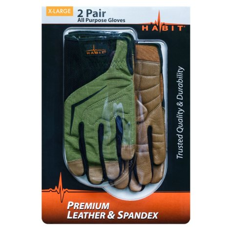 Habit® X-Large Leather and Spandex All Purpose Work Glove - 2 Pack
