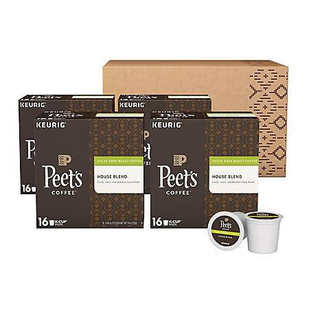 Peet's Coffee Decaf House Blend Single Serve Cups, Dark Roast (64 ct.)