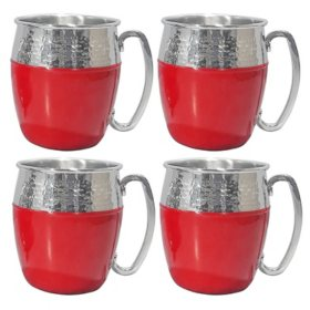 Member's Mark Hammered Mule Mugs, 4 Pack (Assorted Colors)