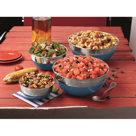 Member's Mark 4-Piece Dual-Finish Colored Mixing Bowl Set (Assorted Colors)